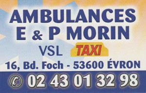 Ambulances Morin, 02 43 01 32 98, 16 Boulevard Foch 53600 Évron